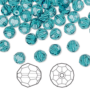 bead, swarovski crystals, indicolite, 6mm faceted round (5000). sold per pkg of 360.