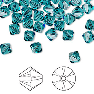 bead, swarovski crystals, indicolite, 6mm xilion bicone (5328). sold per pkg of 360.