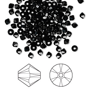 bead, swarovski crystals, jet, 3mm xilion bicone (5328). sold per pkg of 144 (1 gross).
