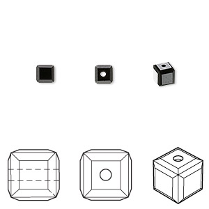 bead, swarovski crystals, jet, 4x4mm faceted cube (5601). sold per pkg of 288 (2 gross).