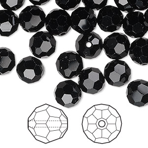 bead, swarovski crystals, jet, 8mm faceted round (5000). sold per pkg of 288 (2 gross).