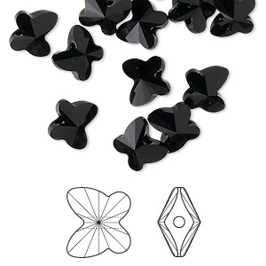 bead, swarovski crystals, jet, 8x7mm faceted butterfly (5754). sold per pkg of 288 (2 gross).