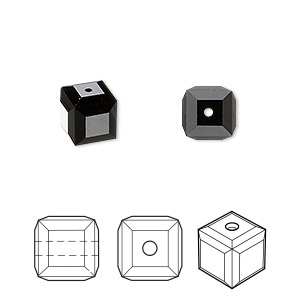 bead, swarovski crystals, jet, 8x8mm faceted cube (5601). sold per pkg of 48.