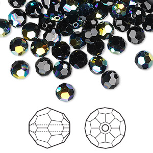 bead, swarovski crystals, jet ab, 8mm faceted round (5000). sold per pkg of 288 (2 gross).