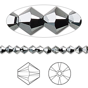 bead, swarovski crystals, jet hematite 2x, 4mm xilion bicone (5328). sold per pkg of 1,440 (10 gross).