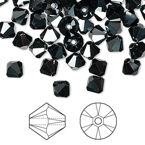 bead, swarovski crystals, jet hematite 2x, 6mm xilion bicone (5328). sold per pkg of 144 (1 gross).