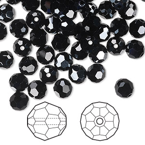 bead, swarovski crystals, jet hematite, 6mm faceted round (5000). sold per pkg of 360.