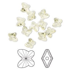 bead, swarovski crystals, jonquil, 10x9mm faceted butterfly (5754). sold per pkg of 288 (2 gross).