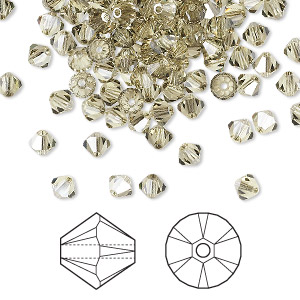 bead, swarovski crystals, jonquil satin, 4mm xilion bicone (5328). sold per pkg of 1,440 (10 gross).