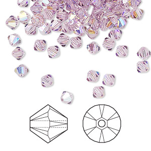 bead, swarovski crystals, light amethyst ab, 4mm xilion bicone (5328). sold per pkg of 1,440 (10 gross).