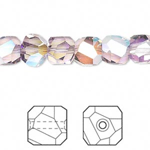 bead, swarovski crystals, light amethyst ab, 8x8mm faceted graphic cube (5603). sold per pkg of 6.