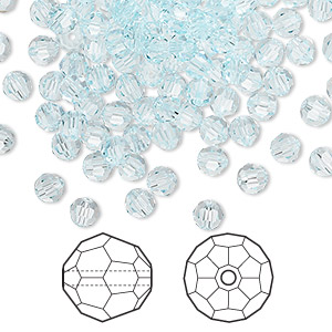 bead, swarovski crystals, light azore, 4mm faceted round (5000). sold per pkg of 720 (5 gross).