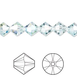 bead, swarovski crystals, light azore ab, 8mm xilion bicone (5328). sold per pkg of 72.