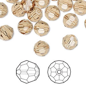 bead, swarovski crystals, light colorado topaz, 8mm faceted round (5000). sold per pkg of 288 (2 gross).