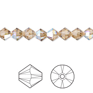 bead, swarovski crystals, light colorado topaz shimmer, 6mm xilion bicone (5328). sold per pkg of 360.