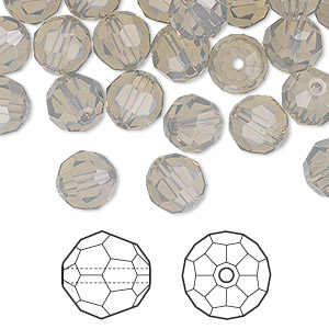 bead, swarovski crystals, light grey opal, 8mm faceted round (5000). sold per pkg of 288 (2 gross).