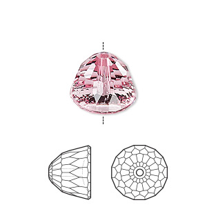 bead, swarovski crystals, light rose, 14x11mm faceted dome small (5542). sold per pkg of 48.