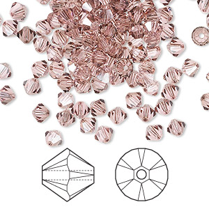 bead, swarovski crystals, light rose satin, 4mm xilion bicone (5328). sold per pkg of 1,440 (10 gross).