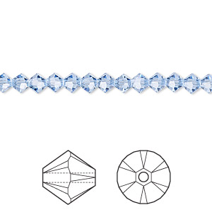 bead, swarovski crystals, light sapphire, 4mm xilion bicone (5328). sold per pkg of 48.