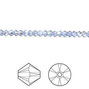 bead, swarovski crystals, light sapphire shimmer, 3mm xilion bicone (5328). sold per pkg of 1,440 (10 gross).