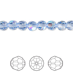 bead, swarovski crystals, light sapphire shimmer, 6mm faceted round (5000). sold per pkg of 360.