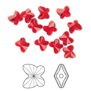 bead, swarovski crystals, light siam, 6x5mm faceted butterfly (5754). sold per pkg of 360.