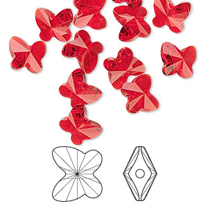 bead, swarovski crystals, light siam, 8x7mm faceted butterfly (5754). sold per pkg of 288 (2 gross).