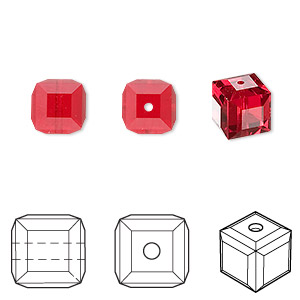 bead, swarovski crystals, light siam, 8x8mm faceted cube (5601). sold per pkg of 96.