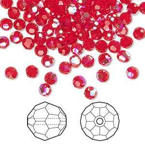 bead, swarovski crystals, light siam ab, 4mm faceted round (5000). sold per pkg of 720 (5 gross).