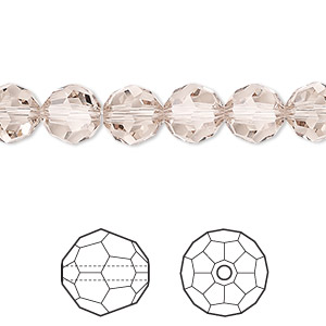 bead, swarovski crystals, light silk, 8mm faceted round (5000). sold per pkg of 288 (2 gross).