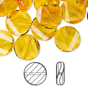 bead, swarovski crystals, light topaz, 14mm faceted twist (5621). sold per pkg of 2.