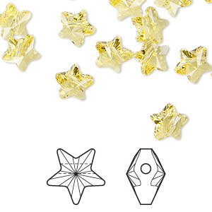 bead, swarovski crystals, light topaz, 8x8mm faceted star (5714). sold per pkg of 288 (2 gross).
