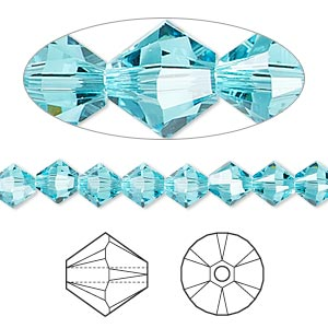 bead, swarovski crystals, light turquoise, 6mm xilion bicone (5328). sold per pkg of 360.