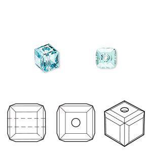 bead, swarovski crystals, light turquoise, 6x6mm faceted cube (5601). sold per pkg of 144 (1 gross).