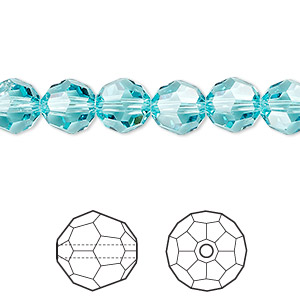bead, swarovski crystals, light turquoise, 8mm faceted round (5000). sold per pkg of 288 (2 gross).