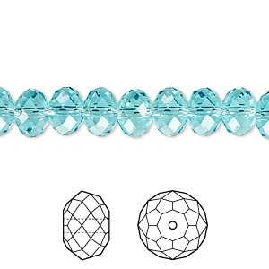 bead, swarovski crystals, light turquoise, 8x6mm faceted rondelle (5040). sold per pkg of 288 (2 gross).