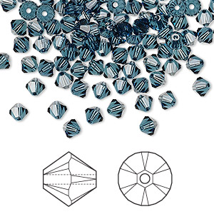 bead, swarovski crystals, montana, 4mm xilion bicone (5328). sold per pkg of 144 (1 gross).