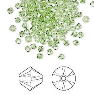 bead, swarovski crystals, peridot, 3mm xilion bicone (5328). sold per pkg of 48.