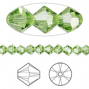 bead, swarovski crystals, peridot, 5mm xilion bicone (5328). sold per pkg of 24.