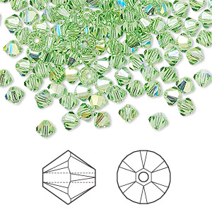 bead, swarovski crystals, peridot ab, 4mm xilion bicone (5328). sold per pkg of 1,440 (10 gross).