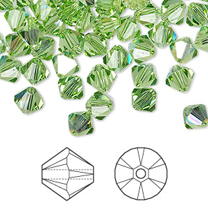 bead, swarovski crystals, peridot ab, 6mm xilion bicone (5328). sold per pkg of 24.