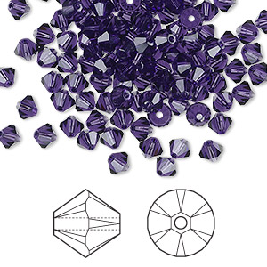 bead, swarovski crystals, purple velvet, 4mm xilion bicone (5328). sold per pkg of 1,440 (10 gross).