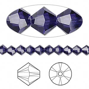 bead, swarovski crystals, purple velvet, 5mm xilion bicone (5328). sold per pkg of 24.