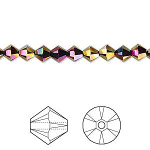 bead, swarovski crystals, rainbow dark 2x, 5mm xilion bicone (5328). sold per pkg of 720 (5 gross).