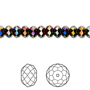 bead, swarovski crystals, rainbow dark 2x, 6x4mm faceted rondelle (5040). sold per pkg of 360.