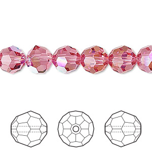 bead, swarovski crystals, rose ab, 8mm faceted round (5000). sold per pkg of 288 (2 gross).
