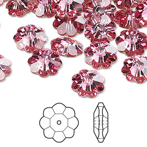 bead, swarovski crystals, rose, foil back, 10x3.5mm faceted marguerite lochrose flower (3700). sold per pkg of 12.