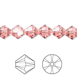bead, swarovski crystals, rose peach, 8mm xilion bicone (5328). sold per pkg of 288 (2 gross).