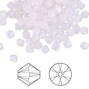 bead, swarovski crystals, rose water opal, 4mm faceted bicone (5301). sold per pkg of 1,440 (10 gross).