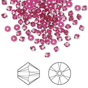 bead, swarovski crystals, ruby, 3mm xilion bicone (5328). sold per pkg of 1,440 (10 gross).